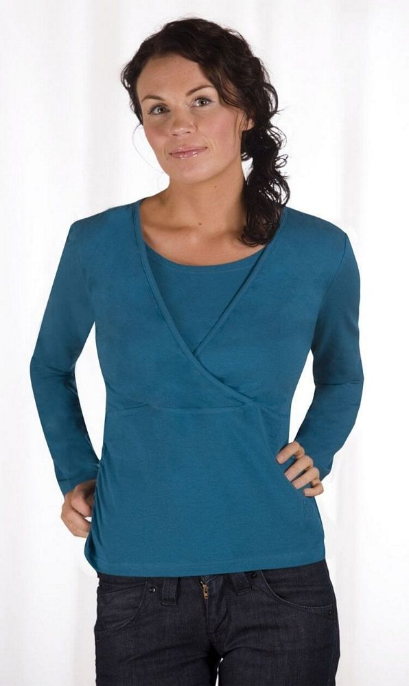 Carriwell Kaj Long-Sleeved Nursing top – Petrol Blue