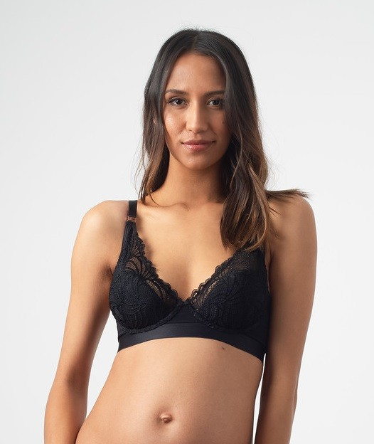 Project Me Warrior Plunge D- G Cups Black Nursing Bra