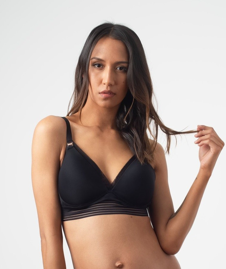 Project Me Ambition Triangle D-G Cups Black Nursing Bra